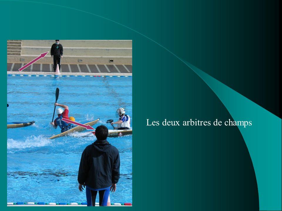Larbitrage Un match de kayak polo ne peut se jouer sans : 2 arbitres de champs 2 juges de lignes
