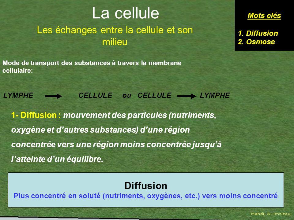 Mode de transport des substances à travers la membrane cellulaire : Mots clés 1.