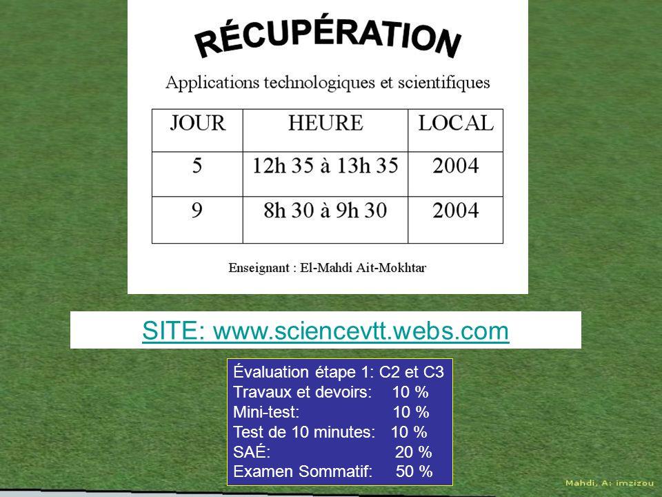 SITE: www.sciencevtt.webs.com Évaluation étape 1: C2 et C3 Travaux et devoirs: 10 % Mini-test: 10 % Test de 10 minutes: 10 % SAÉ: 20 % Examen Sommatif: 50 %