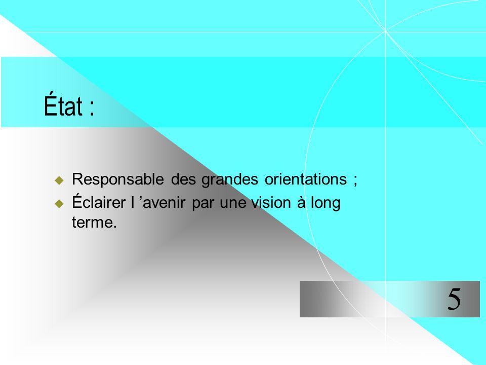 État : Responsable des grandes orientations ; Éclairer l avenir par une vision à long terme. 5