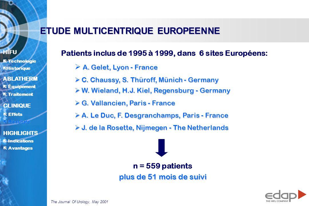 HIFU ë Historique Historique Technologie ABLATHERM Traitement Équipement Avantages CLINIQUE Effets Résultats Indications HIGHLIGHTS Patients inclus de 1995 à 1999, dans 6 sites Européens: A.
