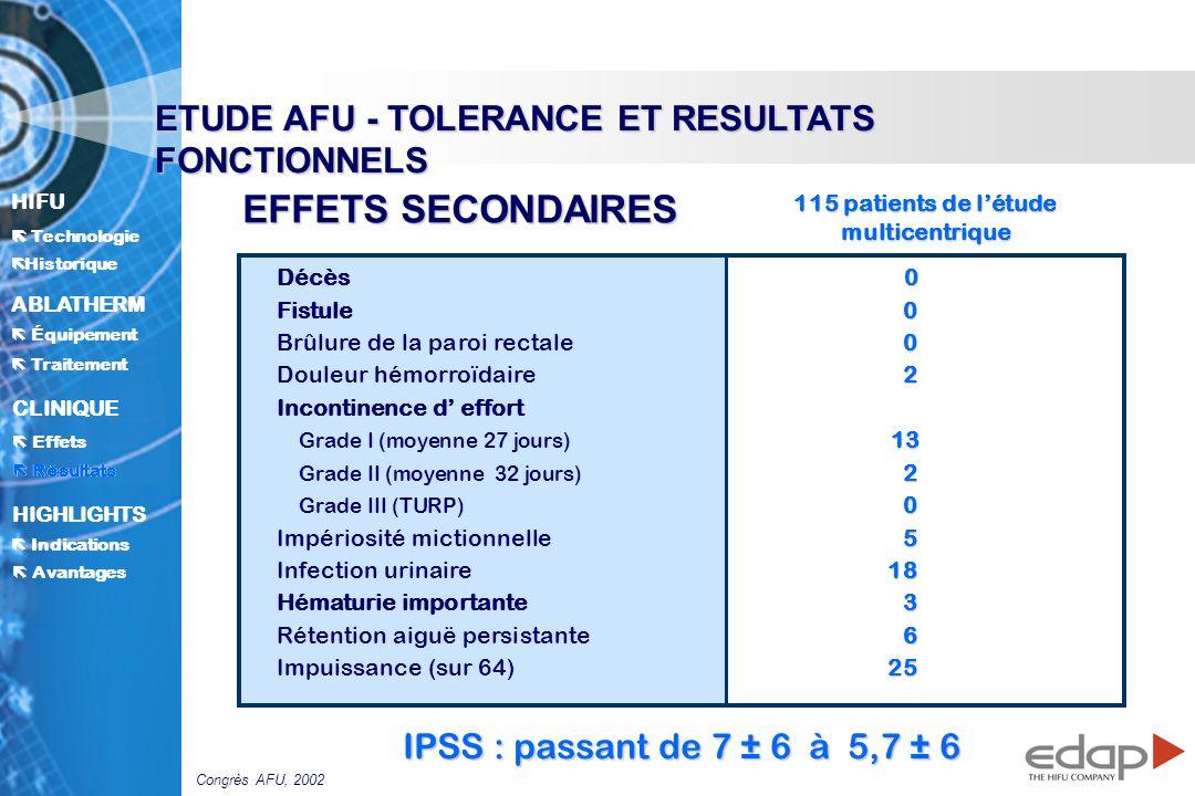 HIFU ë Historique Historique Technologie ABLATHERM Traitement Équipement Avantages CLINIQUE Effets Résultats Indications HIGHLIGHTS 0 Décès0 0 Fistule 0 0 Brûlure de la paroi rectale0 2 Douleur hémorroïdaire2 Incontinence d effort 13 Grade I (moyenne 27 jours) 13 2 Grade II (moyenne 32 jours) 2 0 Grade III (TURP) 0 5 Impériosité mictionnelle5 18 Infection urinaire18 3 Hématurie importante3 6 Rétention aiguë persistante6 25 Impuissance (sur 64)25 115 patients de létude multicentrique EFFETS SECONDAIRES ETUDE AFU - TOLERANCE ET RESULTATS FONCTIONNELS IPSS : passant de 7 ± 6 à 5,7 ± 6 Résultats Congrès AFU, 2002