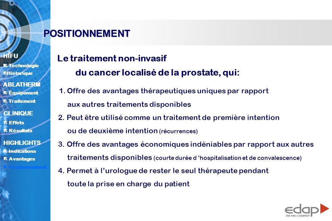 HIFU ë Historique Historique Technologie ABLATHERM Traitement Équipement Avantages CLINIQUE Effets Résultats Indications HIGHLIGHTS POSITIONNEMENT Le traitement non-invasif du cancer localisé de la prostate, qui: 1.