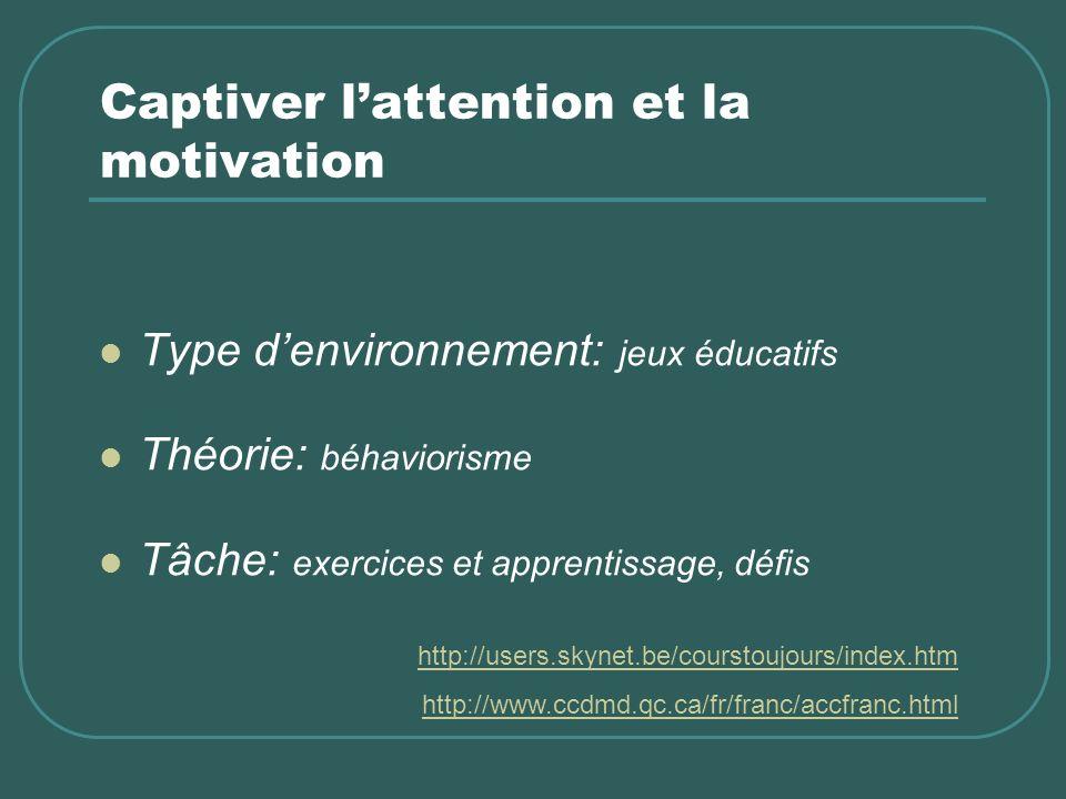Captiver lattention et la motivation Type denvironnement: jeux éducatifs Théorie: béhaviorisme Tâche: exercices et apprentissage, défis http://users.skynet.be/courstoujours/index.htm http://www.ccdmd.qc.ca/fr/franc/accfranc.html