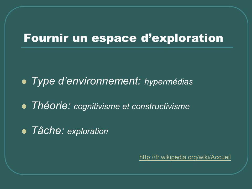 Fournir un espace dexploration Type denvironnement: hypermédias Théorie: cognitivisme et constructivisme Tâche: exploration http://fr.wikipedia.org/wi