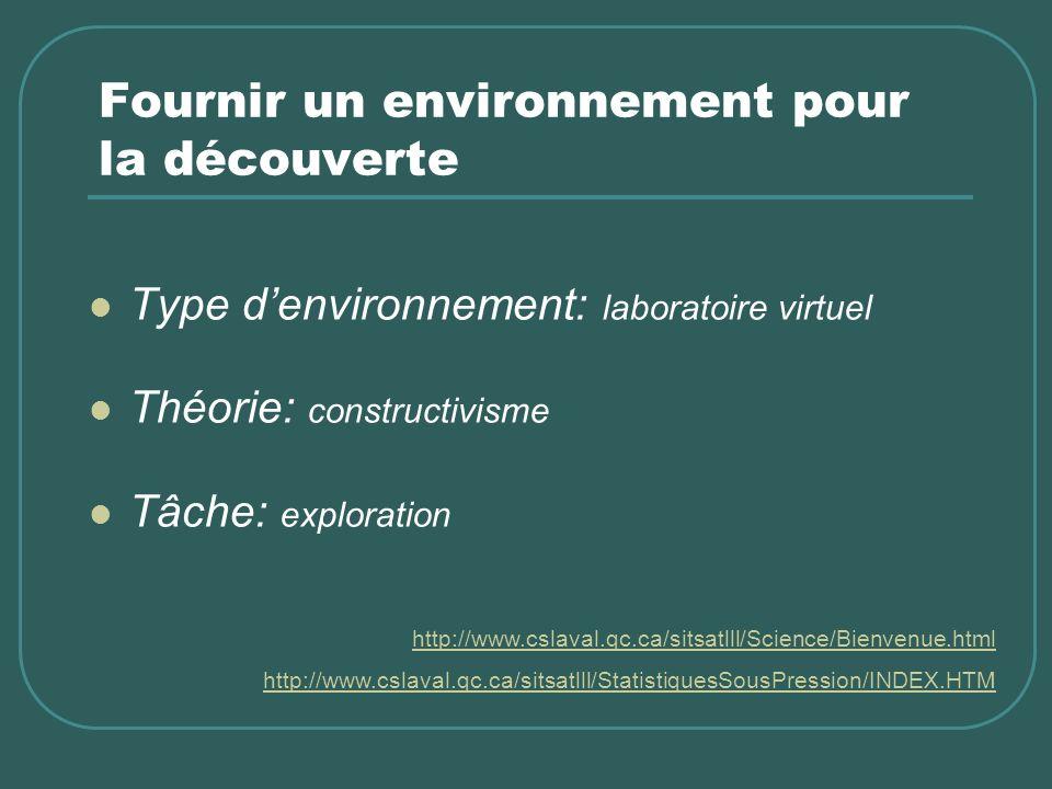 Fournir un environnement pour la découverte Type denvironnement: laboratoire virtuel Théorie: constructivisme Tâche: exploration http://www.cslaval.qc
