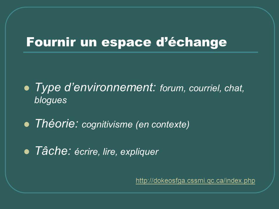 Fournir un espace déchange Type denvironnement: forum, courriel, chat, blogues Théorie: cognitivisme (en contexte) Tâche: écrire, lire, expliquer http://dokeosfga.cssmi.qc.ca/index.php