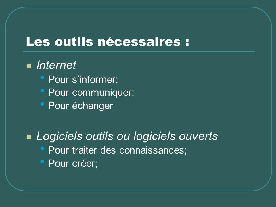 Les outils nécessaires : Internet Pour sinformer; Pour communiquer; Pour échanger Logiciels outils ou logiciels ouverts Pour traiter des connaissances; Pour créer;