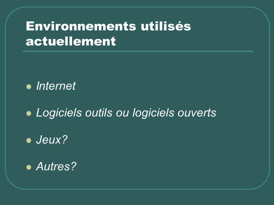Environnements utilisés actuellement Internet Logiciels outils ou logiciels ouverts Jeux? Autres?