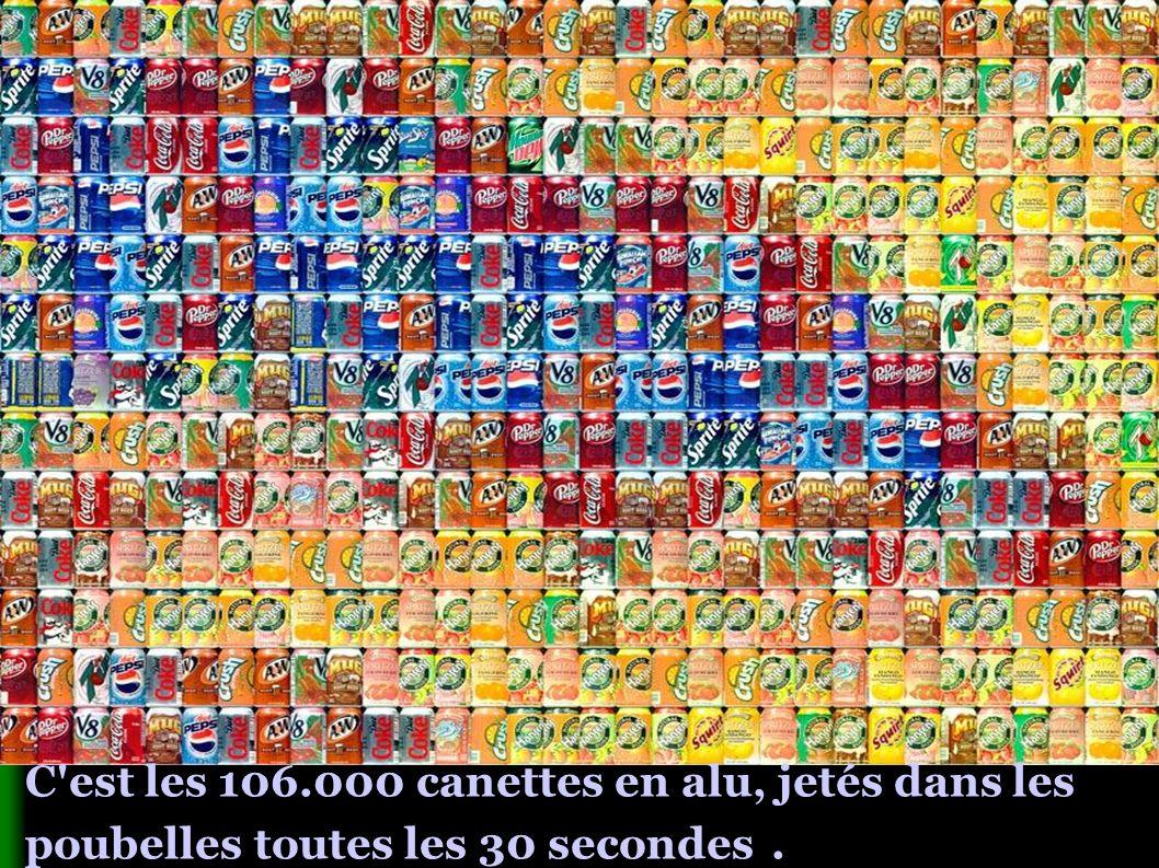 C est les 106.000 canettes en alu, jetés dans les poubelles toutes les 30 secondes.