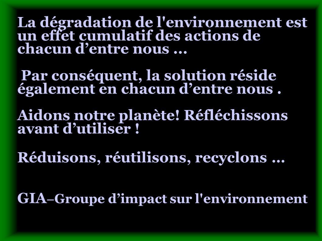 La dégradation de l'environnement est un effet cumulatif des actions de chacun dentre nous... Par conséquent, la solution réside également en chacun d