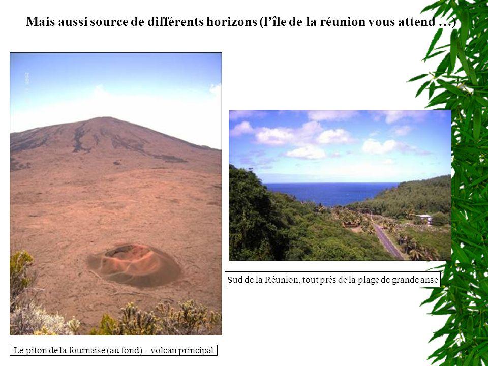 Mais aussi source de différents horizons (lîle de la réunion vous attend …) Le piton de la fournaise (au fond) – volcan principal Sud de la Réunion, tout prés de la plage de grande anse