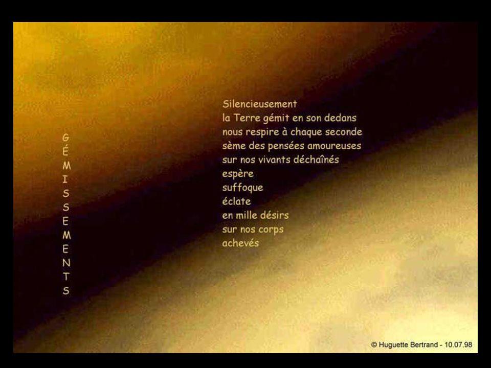 Bibliographie de Huguette Bertrand - Espace perdu, poésie, Éditions Naaman, Sherbrooke, Québec, 1985 - Par la peau du cri, poésie, Écrits des Forges, Trois-Rivières, Québec, 1988 aux Éditions En Marge (Québec) Canada : - Anatomie du Mouvement, poésie, 1991 - La Mort Amoureuse, poésie, 1993 - Silence en Otage, poésie, 1993 - Rouge Mémoire, poésie, 1995 - Jusqu à l extrême Regard, poésie, 1997 - Les Visages du temps, poésie, octobre 1999 - Entre la Chair et l Âme, poésie, 1998 - 2000 - Strates Amoureuses, poésie, 1998 - 2000) - Mots rouge espoir, poésie, février 2000 - Ascension du désir, poésie, Octobre 2000 - Entre lombre et la lumière, poésie, e-book sur Cdrom, 2001 - Sculpture et poésie II, Bigata / Gautier / Bertrand, e-book sur Cdrom, 2001 - Dans le fondu des mots, poésie, 2001 - LInédite, poésie, 2003 - Anarchipel, poésie, 2005 - Poésie 1999-2005, poésie, septembre 2006, 296 p.