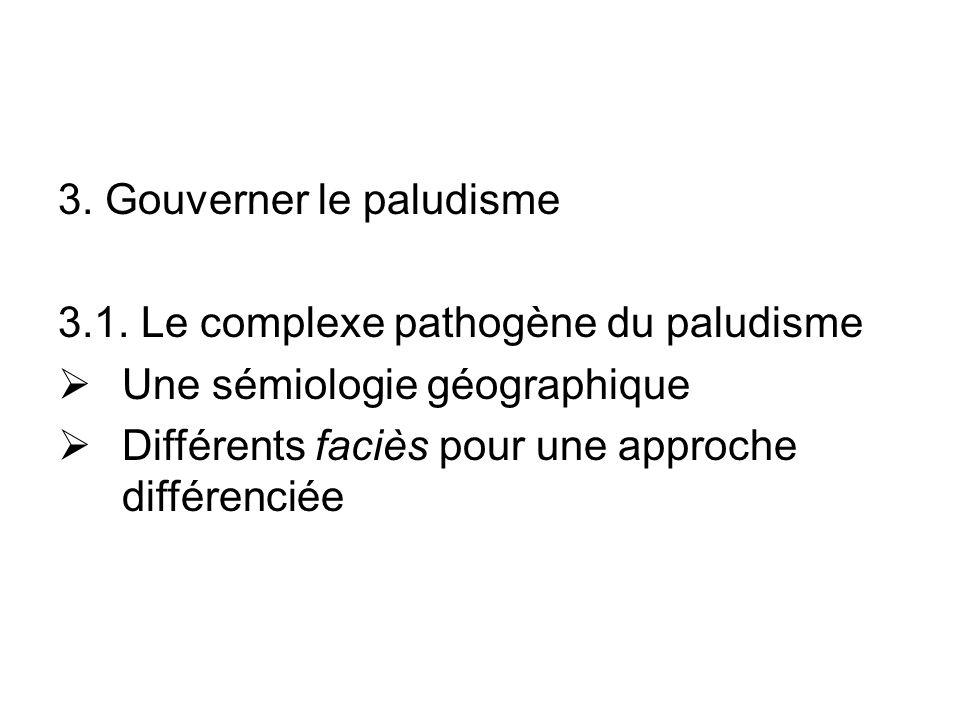 3. Gouverner le paludisme 3.1. Le complexe pathogène du paludisme Une sémiologie géographique Différents faciès pour une approche différenciée