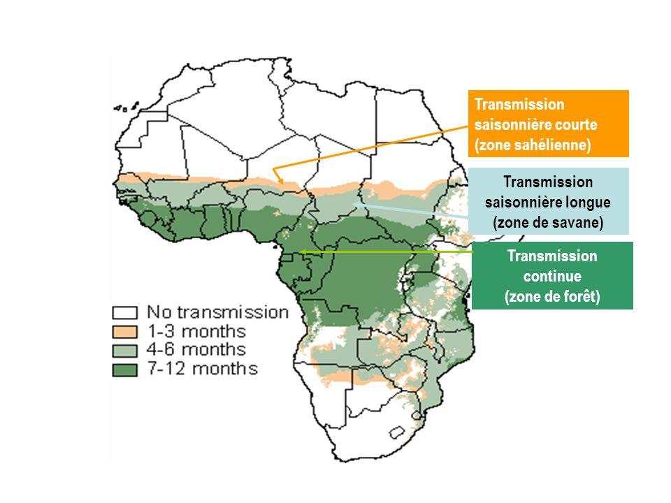 Transmission saisonnière courte (zone sahélienne) Transmission saisonnière longue (zone de savane) Transmission continue (zone de forêt)