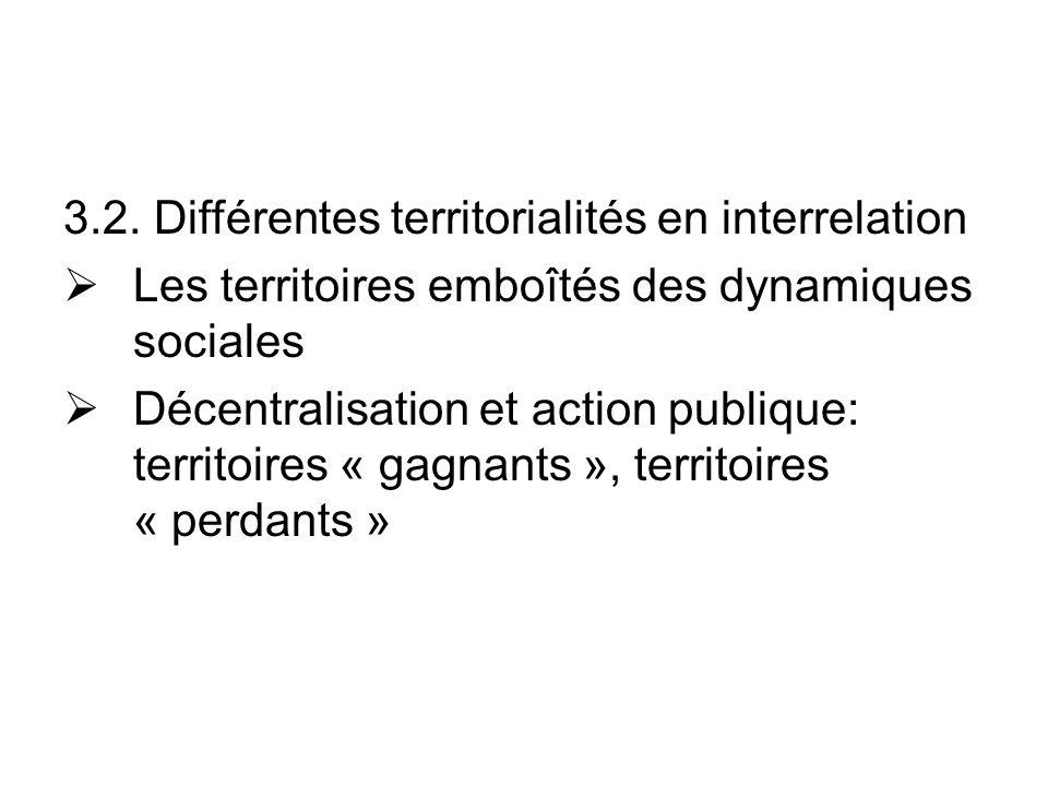 3.2. Différentes territorialités en interrelation Les territoires emboîtés des dynamiques sociales Décentralisation et action publique: territoires «