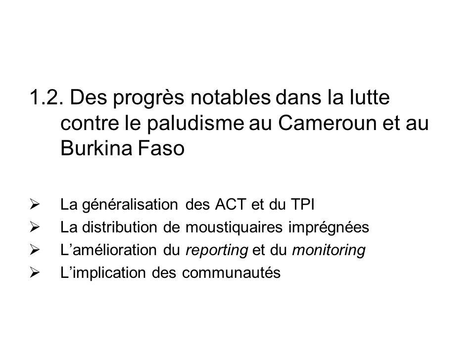 1.2. Des progrès notables dans la lutte contre le paludisme au Cameroun et au Burkina Faso La généralisation des ACT et du TPI La distribution de mous