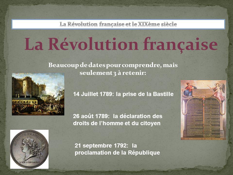 La Révolution française Beaucoup de dates pour comprendre, mais seulement 3 à retenir: 14 Juillet 1789: la prise de la Bastille 26 août 1789: la déclaration des droits de lhomme et du citoyen 21 septembre 1792: la proclamation de la République