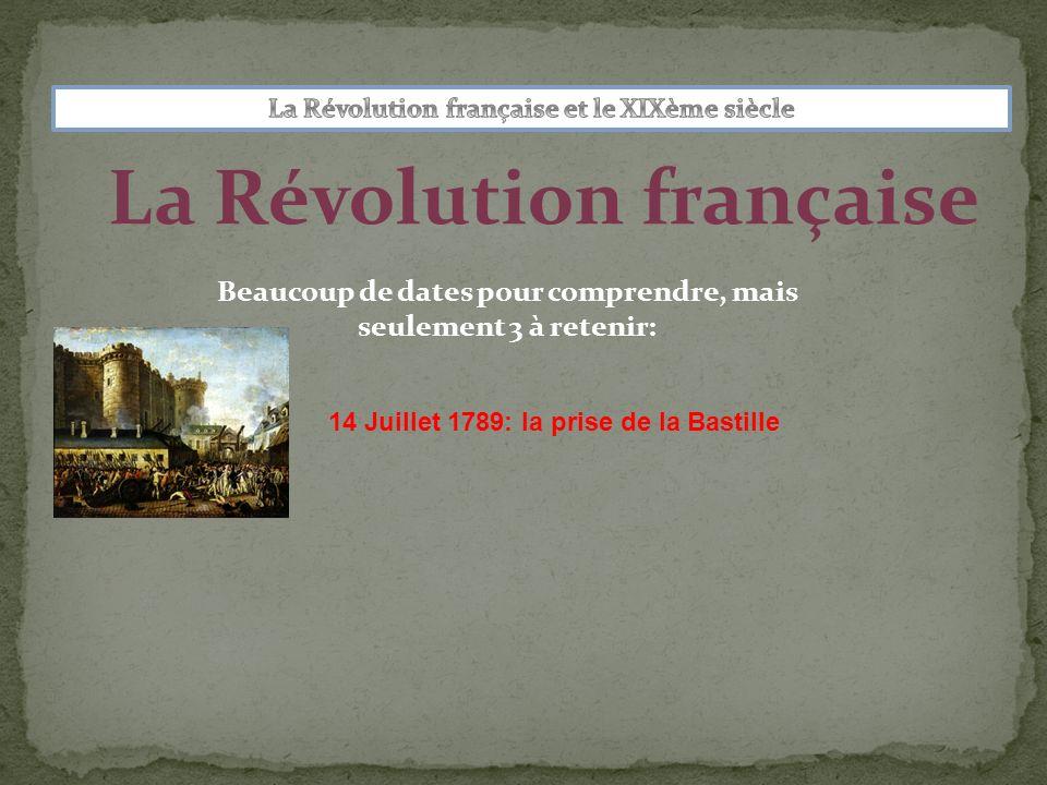 La Révolution française Beaucoup de dates pour comprendre, mais seulement 3 à retenir: 14 Juillet 1789: la prise de la Bastille
