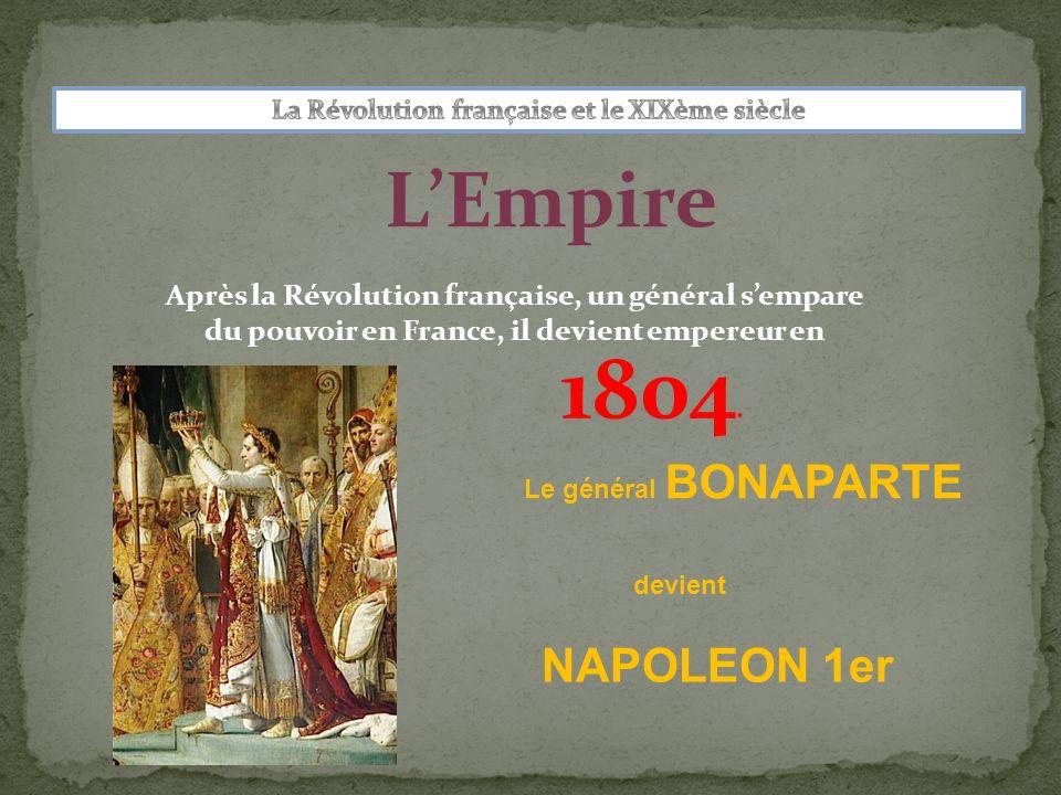 LEmpire Après la Révolution française, un général sempare du pouvoir en France, il devient empereur en NAPOLEON 1er Le général BONAPARTE devient 1804.