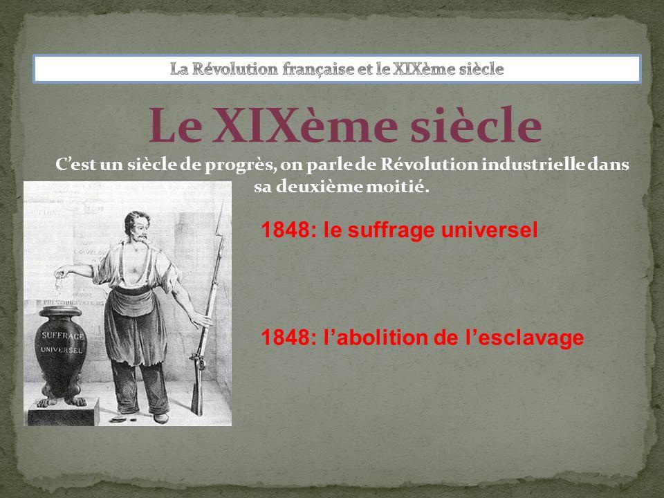 Le XIXème siècle 1848: le suffrage universel 1848: labolition de lesclavage Cest un siècle de progrès, on parle de Révolution industrielle dans sa deu