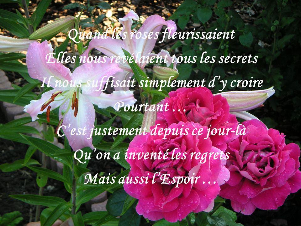 Quand les roses fleurissaient Elles nous révélaient tous les secrets Il nous suffisait simplement dy croire Pourtant … Cest justement depuis ce jour-là Quon a inventé les regrets Mais aussi lEspoir …