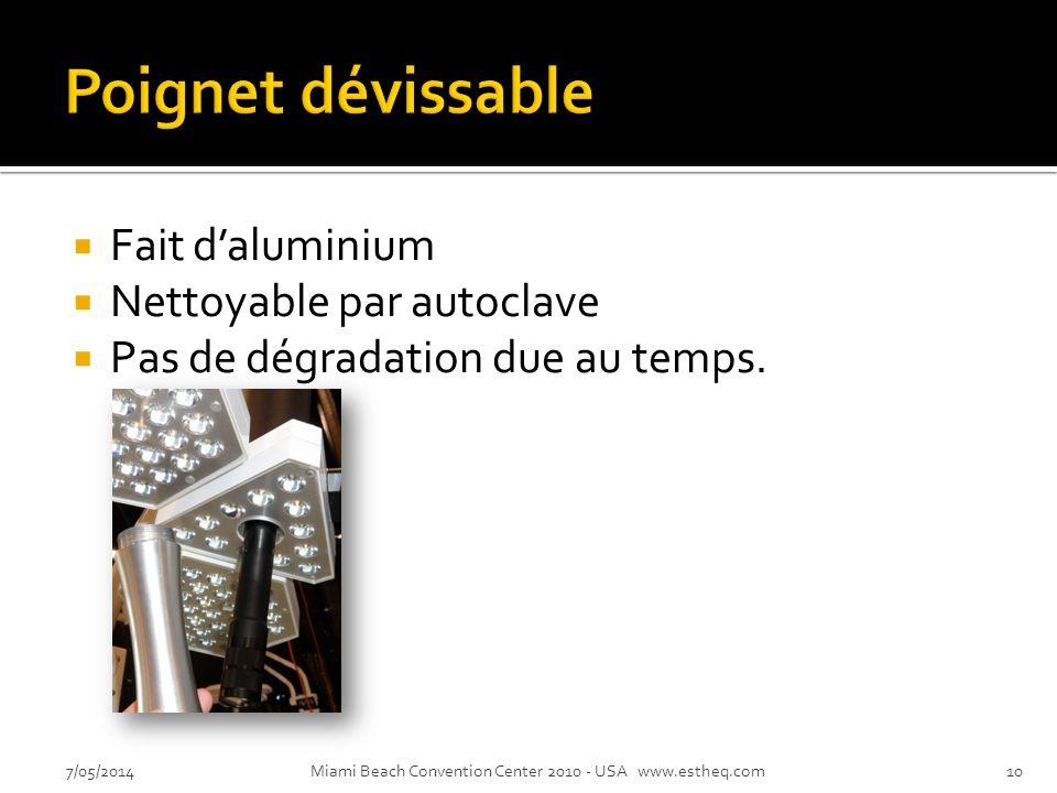 Fait daluminium Nettoyable par autoclave Pas de dégradation due au temps.
