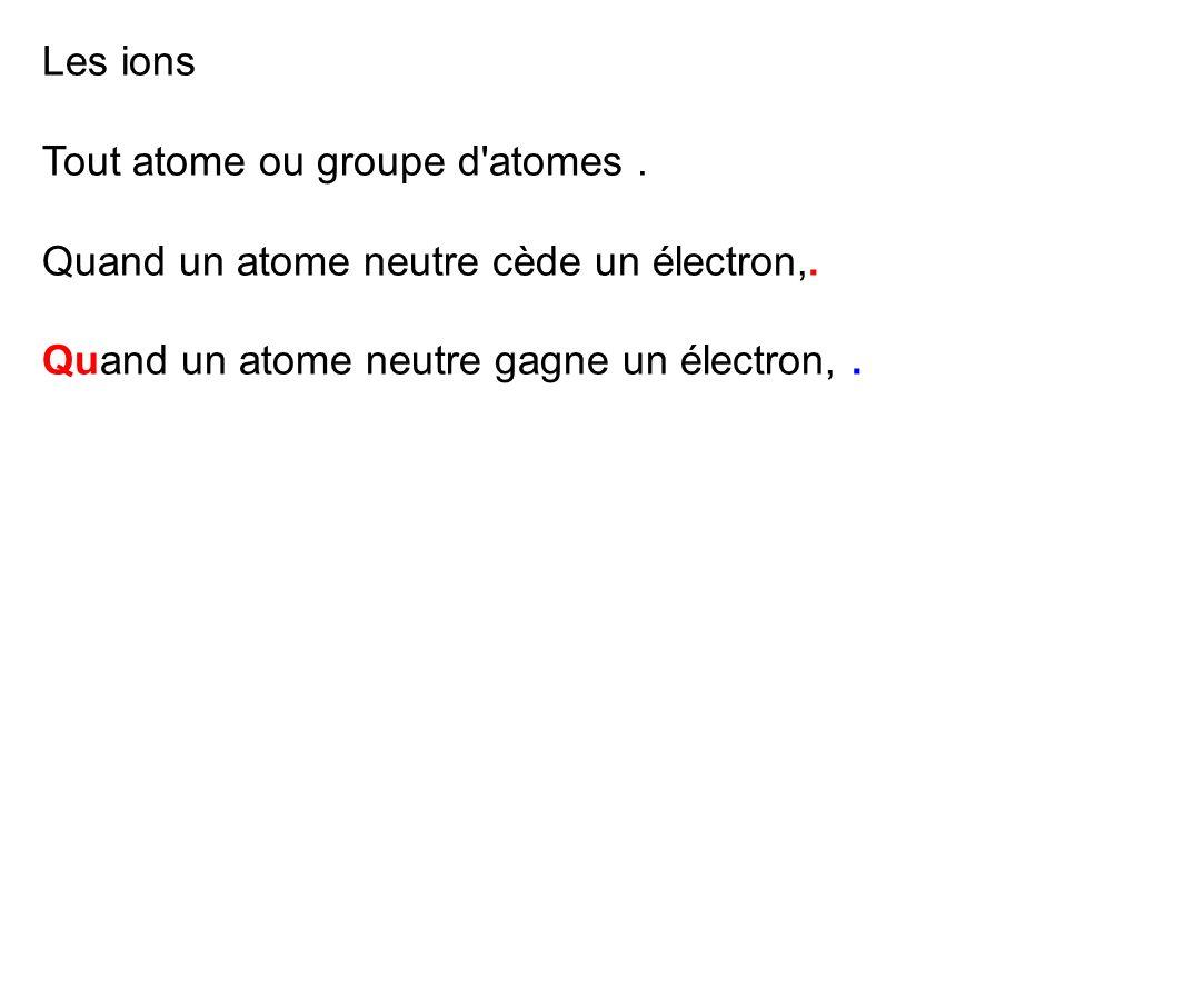 Les ions Tout atome ou groupe d'atomes. Quand un atome neutre cède un électron,. Quand un atome neutre gagne un électron,.