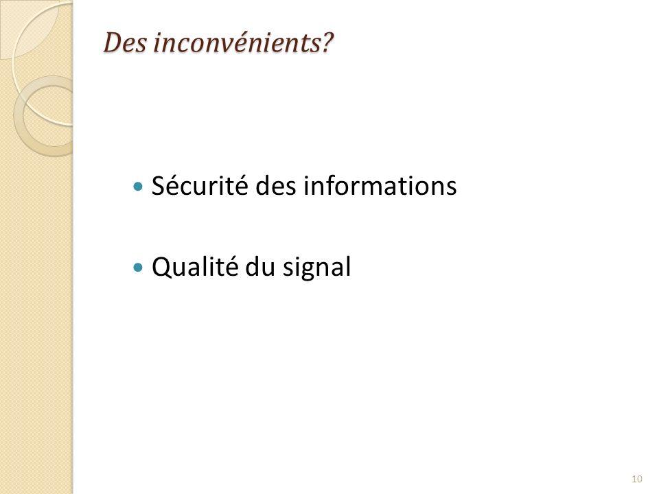 Sécurité des informations Qualité du signal 10