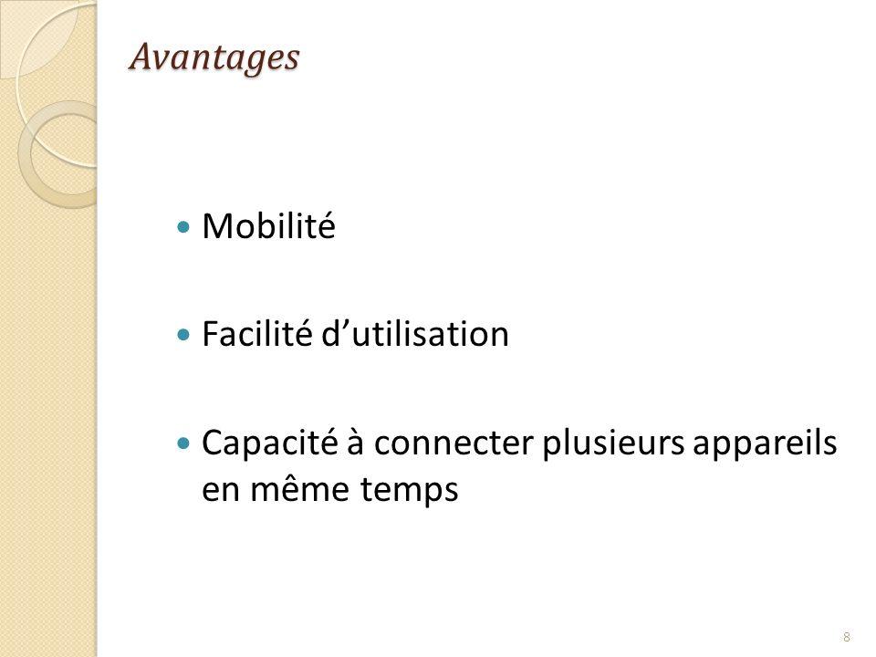 Avantages Mobilité Facilité dutilisation Capacité à connecter plusieurs appareils en même temps 8
