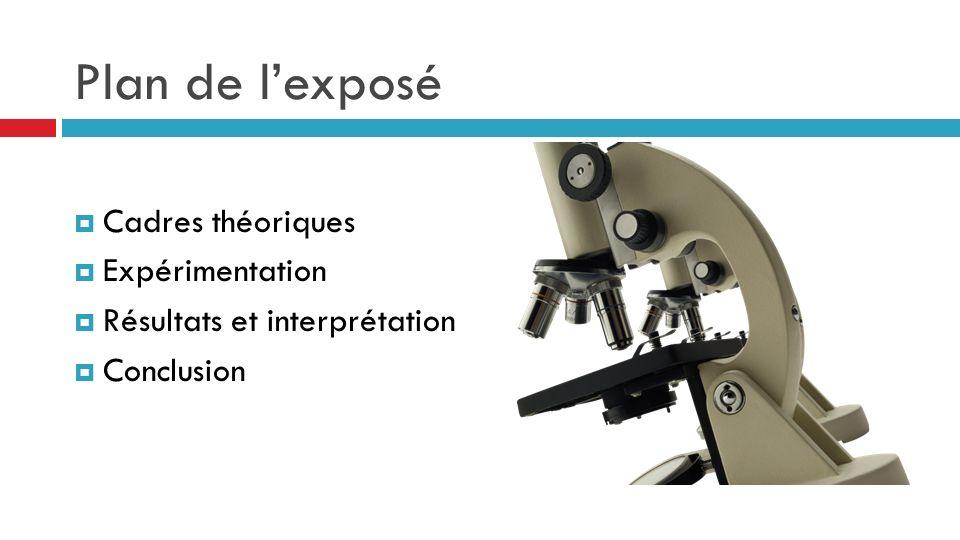 Plan de lexposé Cadres théoriques Expérimentation Résultats et interprétation Conclusion