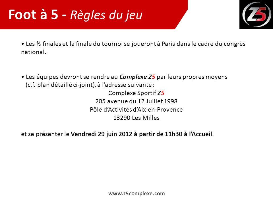 Les ½ finales et la finale du tournoi se joueront à Paris dans le cadre du congrès national. Les équipes devront se rendre au Complexe Z5 par leurs pr