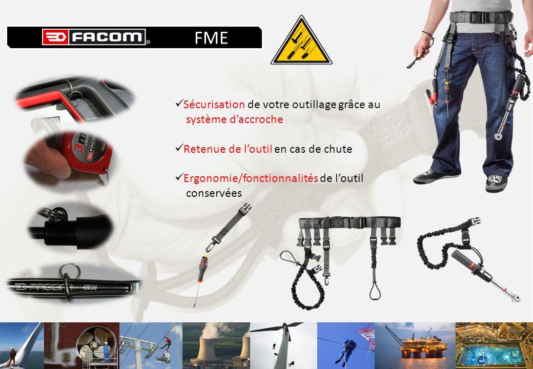 Sécurisation de votre outillage grâce au système daccroche Retenue de loutil en cas de chute Ergonomie/fonctionnalités de loutil conservées FME