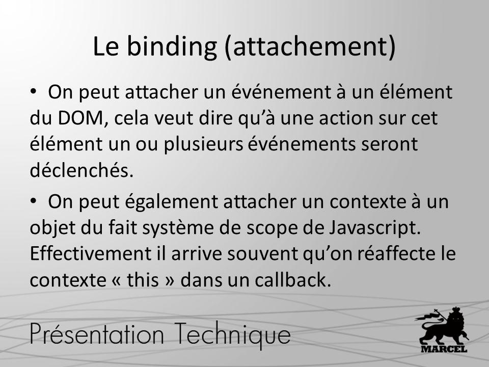 Le binding (attachement) On peut attacher un événement à un élément du DOM, cela veut dire quà une action sur cet élément un ou plusieurs événements seront déclenchés.