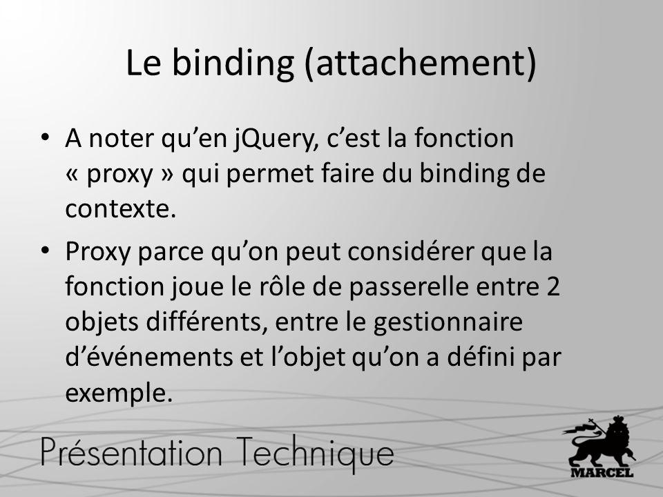 Le binding (attachement) A noter quen jQuery, cest la fonction « proxy » qui permet faire du binding de contexte.