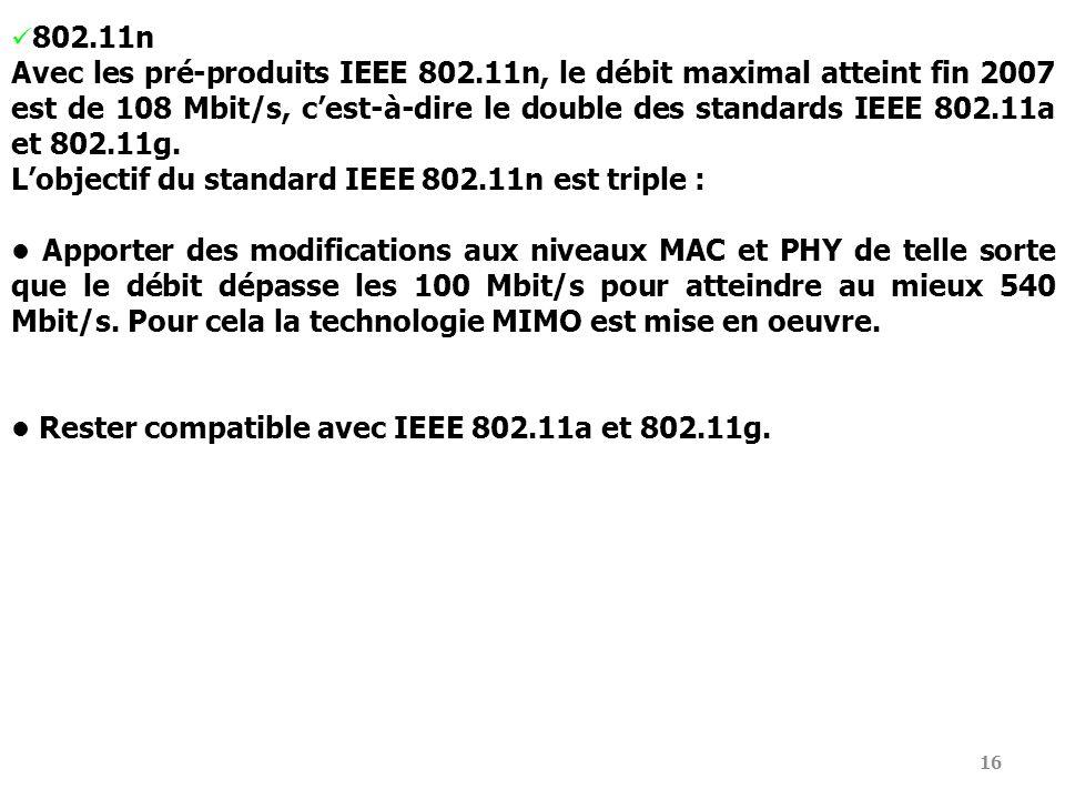 16 802.11n Avec les pré-produits IEEE 802.11n, le débit maximal atteint fin 2007 est de 108 Mbit/s, cest-à-dire le double des standards IEEE 802.11a e