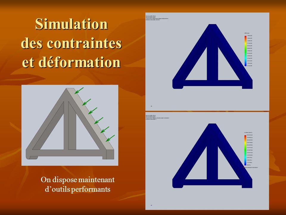 Simulation des contraintes et déformation On dispose maintenant doutils performants