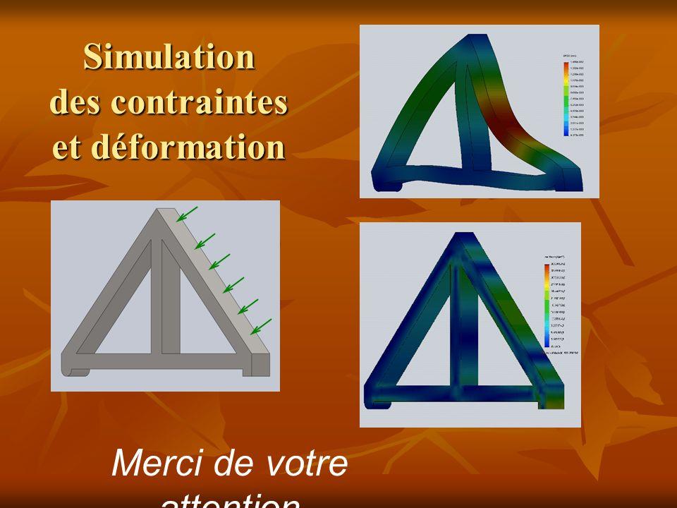 Simulation des contraintes et déformation Merci de votre attention