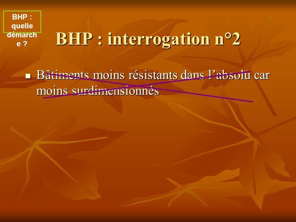 BHP : interrogation n°2 Bâtiments moins résistants dans labsolu car moins surdimensionnés Bâtiments moins résistants dans labsolu car moins surdimensi