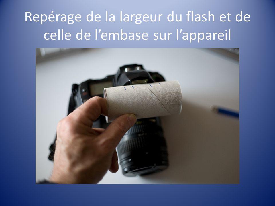 Repérage de la largeur du flash et de celle de lembase sur lappareil