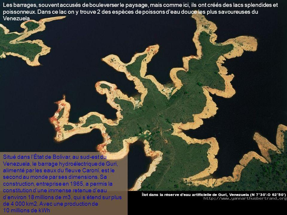 Long de 690 km, le Caroni traverse lÉtat de Bolivar, (plus communément appelée Guyana), au Venezuela, dévale à travers des cascades, rencontrant sur s
