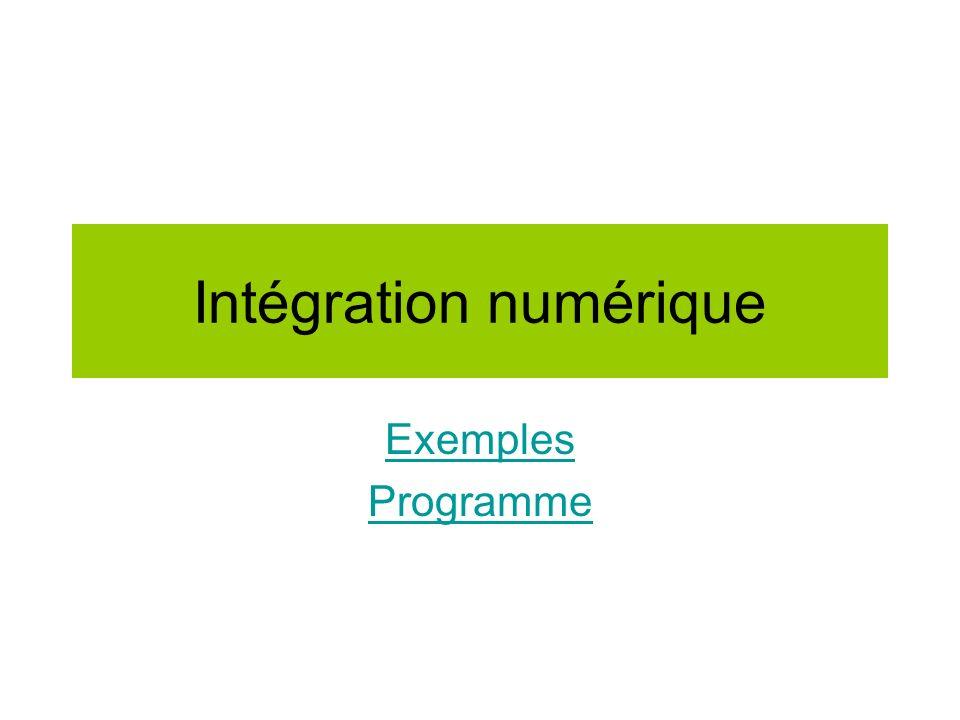 Intégration numérique Exemples Programme
