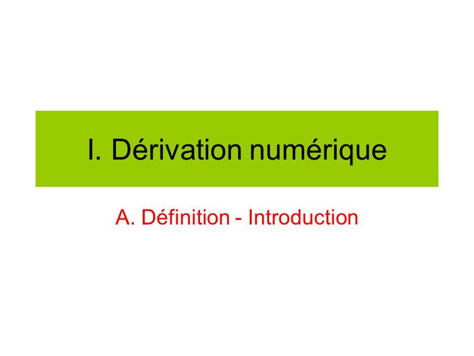 I. Dérivation numérique A. Définition - Introduction