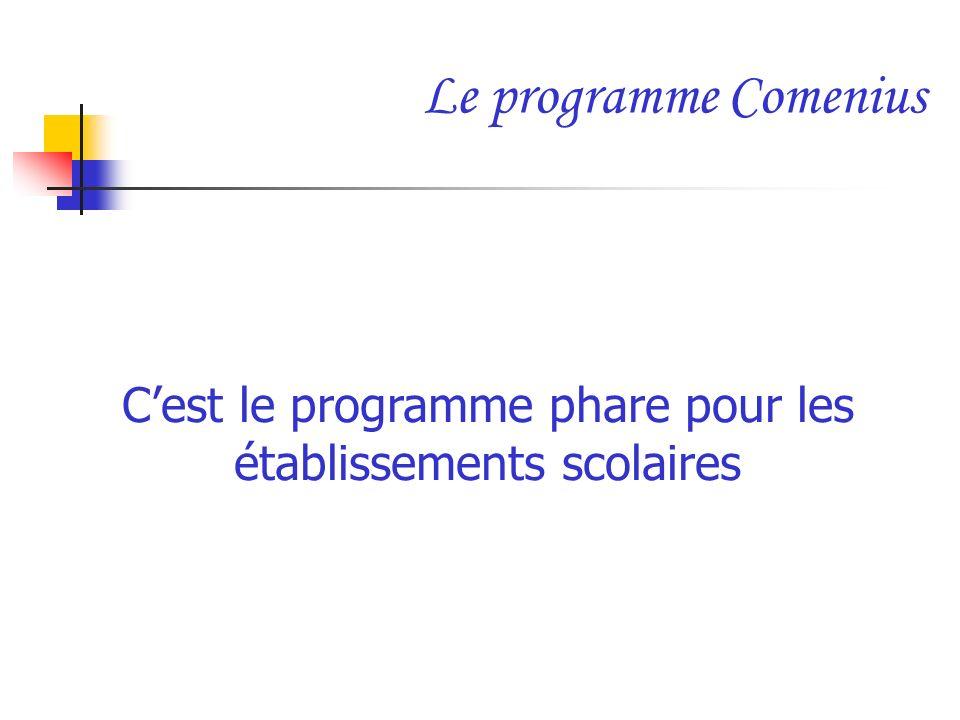 Le programme Comenius Cest le programme phare pour les établissements scolaires