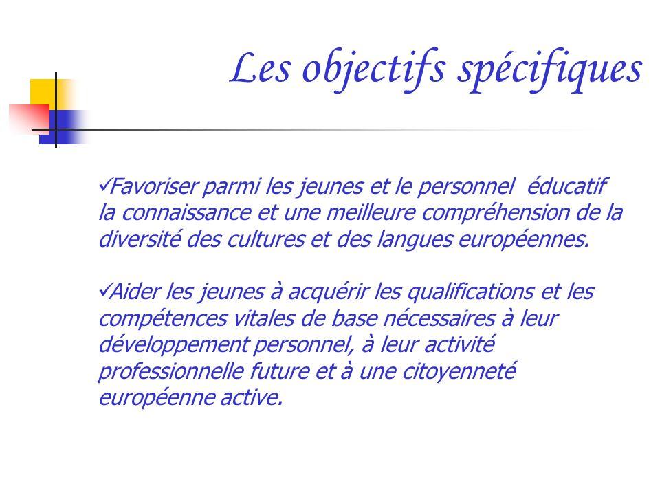 Les objectifs spécifiques Favoriser parmi les jeunes et le personnel éducatif la connaissance et une meilleure compréhension de la diversité des cultu