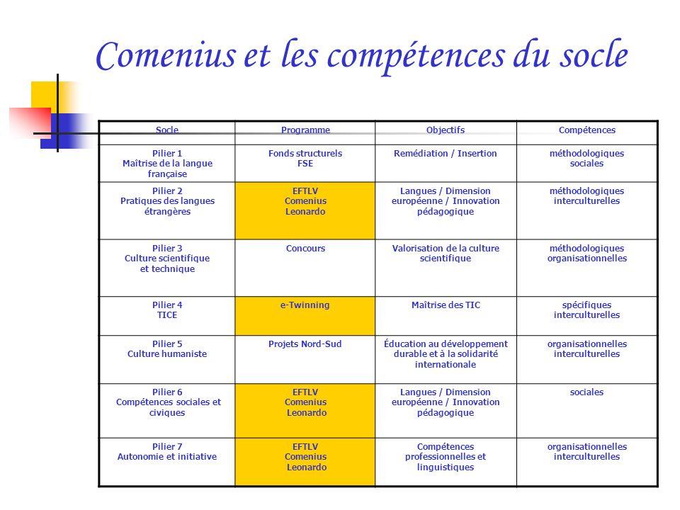 Comenius et les compétences du socle SocleProgrammeObjectifsCompétences Pilier 1 Maîtrise de la langue française Fonds structurels FSE Remédiation / I