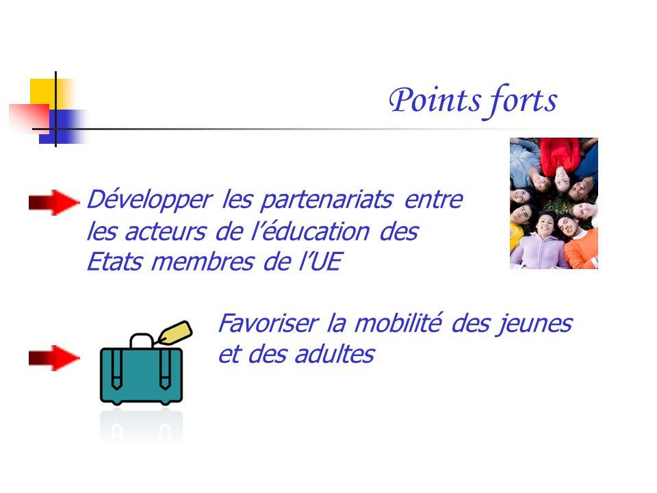 Points forts Développer les partenariats entre les acteurs de léducation des Etats membres de lUE Favoriser la mobilité des jeunes et des adultes
