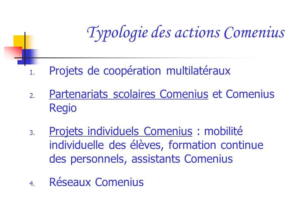 Typologie des actions Comenius 1. Projets de coopération multilatéraux 2. Partenariats scolaires Comenius et Comenius Regio 3. Projets individuels Com