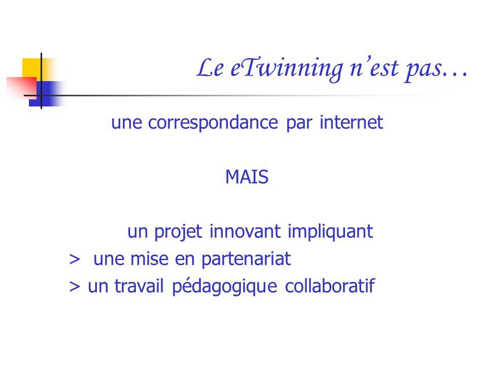 Le eTwinning nest pas… une correspondance par internet MAIS un projet innovant impliquant > une mise en partenariat > un travail pédagogique collabora