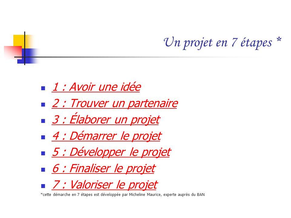 Un projet en 7 étapes * 1 : Avoir une idée 2 : Trouver un partenaire 3 : Élaborer un projet 4 : Démarrer le projet 5 : Développer le projet 6 : Finali